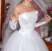 свадебное платье белое,  расшито жемчугом